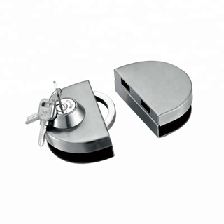 China wholesale round tempered frameless stainless steel glass door lock with keys