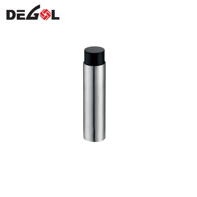 Floor mount promotional decorative cylinder door stopper stainless steel rubber