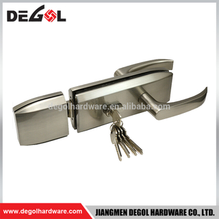Top quality stainless steel frameless commercial glass door lock with lever handle